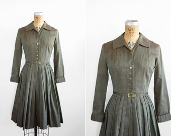 1950s Dress - 50s Dress - Green Plaid Cotton Shirtdress