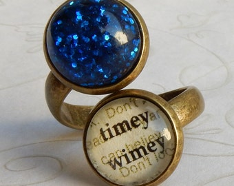 Doctor Who Ring, Timey Wimey,Blink, Weeping Angels, Doctor Who Jewelry