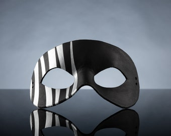 Black and Silver Striped Leather Masquerade Mask, Unisex