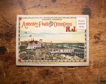 Vintage Souvenir Fold Out Travel Photo Book of Asbury Park and Ocean Grove, New Jersey