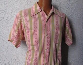 60s/70s Vintage Men's Mod Print Button Down Shirt Lg XL