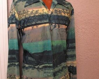 70's Vintage Men's Photo Print Disco Shirt Oak Trees Sunset XL