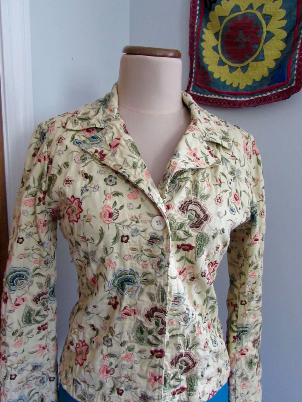 Vintage ladies johnny was floral embroidered blazer jacket
