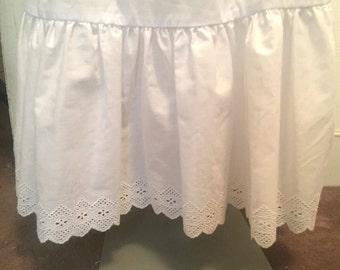 1970's-80's Prairie Ruffle Skirt / White Petticoat / Western or Edwardian Style