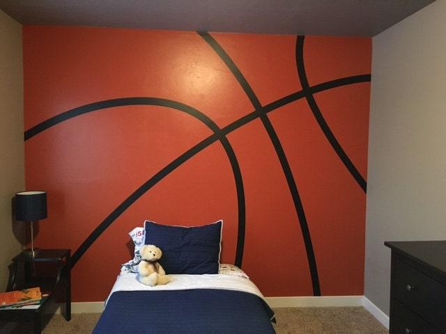 Basketball stripes im023 custom vinyl lettering wall words for Basketball mural