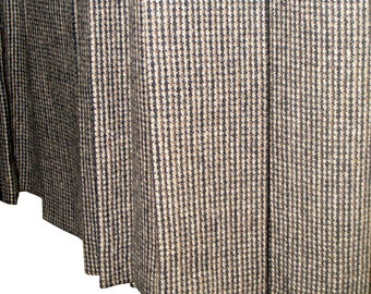 Vintage Sportscraft Box Pleat Skirt Wool Plaid Black And Brown Size 14 Australia