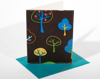 Fabric Fold-Over Card, Blank Notecard, Any Occassion Card, Medium Thank You Handmade Fabric Sewn Card, Set of 4 cards: Trees