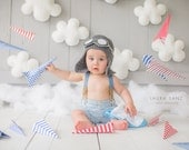 First Birthday Crocheted Baby Aviator Hat Leather like goggles  Crochet Hat Baby Aviator Scarf Photo Prop. Scarf included.
