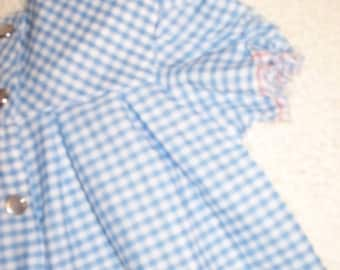 """Modest Doll dress for 18"""" dolls; blue and white gingham check fabric; handmade, snap closure"""
