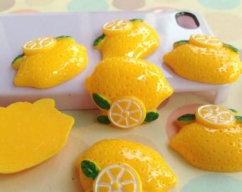 7pcs of resin lemon cabochon 31x26mm flatback yellow