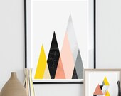 Geometric print, Abstract art, Mountains print, watercolor abstract, home decor, Scandinavian print, minimalist poster,  mid century modern