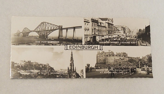 Vintage 1950s Edinburgh Real Photo Panorama BW Valentine's Postcard.. 4 Views