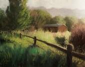 Original oil painting, Farmhouse in the Country, original impressionism landscape farm scene