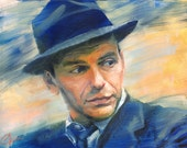 Fine art print of my original oil painting of Frank Sinatra, jazz legend. Music swing jazz art