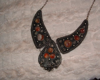 Stones and Silver Statement Necklace - Not Overstated!