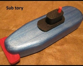Sub tory, wooden toy boats - metalic blue