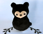 Black Bear Plushie - Stuffed Bear Toy, Little Teddy Bear, Bearcub Plush, Forest Animal Doll, Designer Plush, Blackbear Softie, Gift for Kids