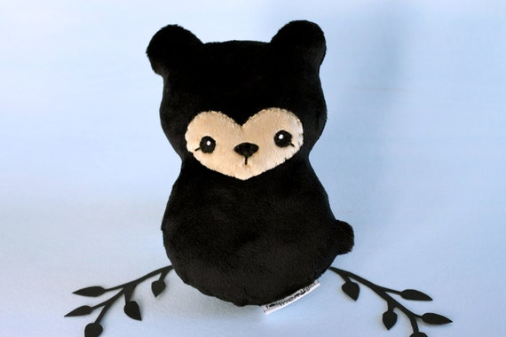 Black Bear Plushie. Stuffed Bear Toy, Little Teddy Bear, Bearcub Plush, Forest Animal Doll, Designer Plush, Blackbear Softie, Gift for Kids