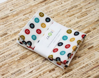 Small Organic Cloth Napkins - Set of 4 - (N3019s) - Colorful Circle Buttons Modern Reusable Fabric Napkins