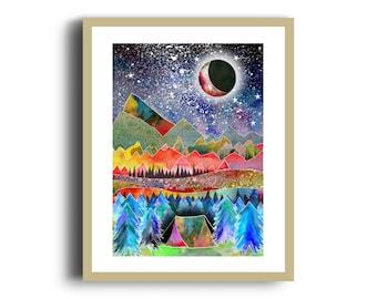 Camping Art Print, Digital Mixed Media Print, Watercolour, Mountains Print