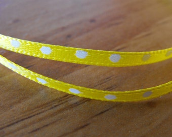 Yellow Thin Polka Dot Ribbon 3 Yards