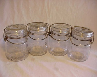 Set of Four c1915-20s Double Safety Smalley Kivlan & Onthank Boston, Mass., Pint Fruit Jars , Great for wedding Decor