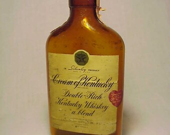 1949 Cream of Kentucky Double Rich Kentucky Whiskey bottled By Schenley, Paper Label Whiskey Flask Bottle No. 2