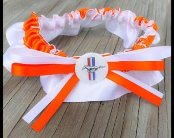 Mustang Bridal Satin Wedding Garter White & Orange Keepsake Or Garter SET Truck Car Garters