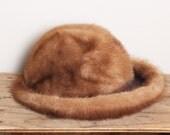 RESERVED FOR CARMENVintage Mink Fur Hat, Brown mink fur hat, 1960s fur hat