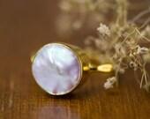WINTER SALE - White Pearl Ring - June Birthstone Ring - Gemstone Ring - Stacking Ring - Gold Ring - Round Ring
