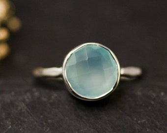 SALE - Aqua Blue Chalcedony Ring Silver - Solitaire Ring - Aqua Ring Silver - Stacking Ring - Sterling Silver Ring - Round Ring