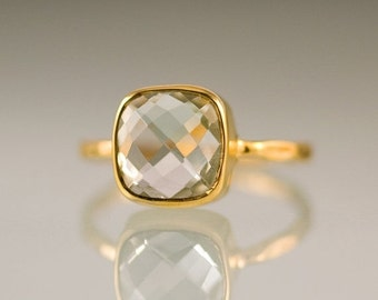 WINTER SALE - Green Amethyst Ring - Gemstone Ring - Gold Ring - Bezel Ring - Stackable Ring - Cushion Cut Ring