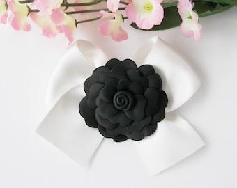 Black Camelia Chanel Inspired Jewelry Camellia Leather Chanel  Camellia Chanel Inspired  Brooch Elegant Pin Chanel inspired jewelry