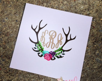 Vinyl Monogram Decal- Monogram Sticker- Floral Antler Monogram Decal- DIY Monogram