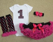 Hot Pink and Black Sparkle, 1st Birthday Girl Outfit, Bodysuit Pettiskirt Leg Warmers Hairbow, Girls 1st Birthday Outfits, Pink Black Tutu