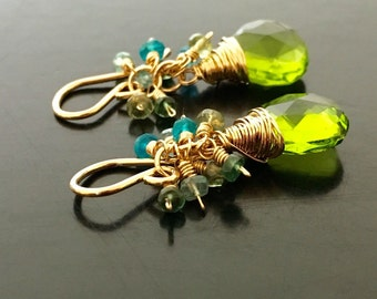 14K Gold Filled Peridot Green Quartz Earrings, Apatite Bead Clusters, Hand Wire Wrapped
