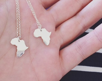 Tiny Africa necklace Africa pendant small Africa continent necklace silver Africa necklace