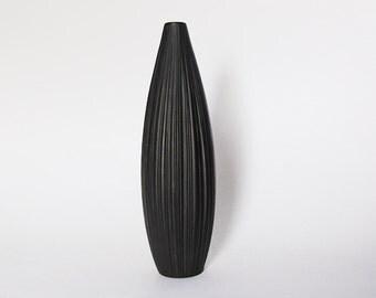 RESERVED Black Porcelain XL 'Plissée' Vase - M. Freyer for Rosenthal 1970s