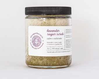 Lavender Sugar Scrub 8oz - Vegan - All-Natural - Organic - exfoliate - relax - de-stress