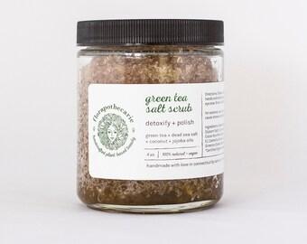Green Tea Salt Scrub 8oz - Vegan - All-Natural - Organic - exfoliate - detoxify - anti-aging