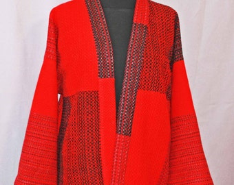 Red handwoven wool kimono, hand woven red wool color block jacket