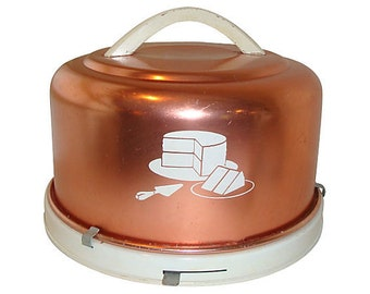 Copper Covered Cake Stand Carrier, Vintage Mid-Century 1960's