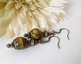 Brown Agate Earrings, Copper Earrings, Brown Stone Earrings, Antiqued Bronze, Brass, Copper Jewelry, Fashion, Brown Beaded Jewelry