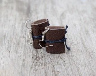 Leather earrings, miniature book earrings, mini book jewelry, literature jewelry, book lover reader gift, teacher gift