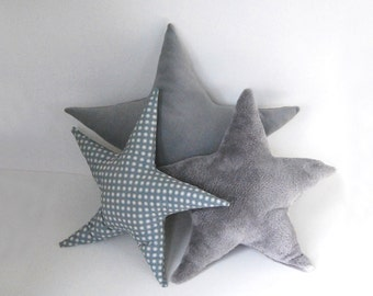 Grey Star Pillow  - Silver Grey fuzzy star pillow for a kid's room