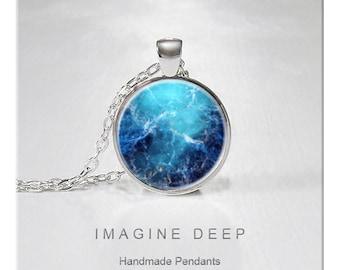 BUY 2 GET 1 FREE Nebula Pendant Necklace Stars Light Aqua Blue Turquoise High Quality Handmade Silver Copper Pendant - Crab Nebula (032)