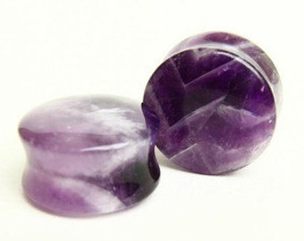 "1/2"" (12 mm) Amethyst Quartz Natural Stone Ear Plugs Gauge Piercings"