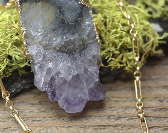 Sliced Amethyst Electroformed Magnetic Clasp Necklace