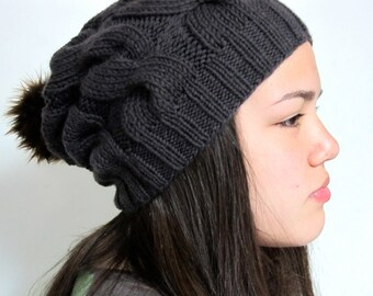 Slouchy cabled gray wool beanie with dark brown pom pom