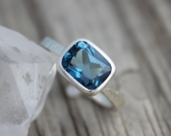 Sterling Silver bezel set ring//East West//london blue topaz 8mm x 10mm ring octagon emerald cut 8mm x 10mm  Made to order